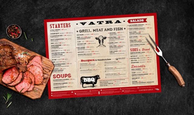 Розробка дизайну меню ресторану VATRA Київ